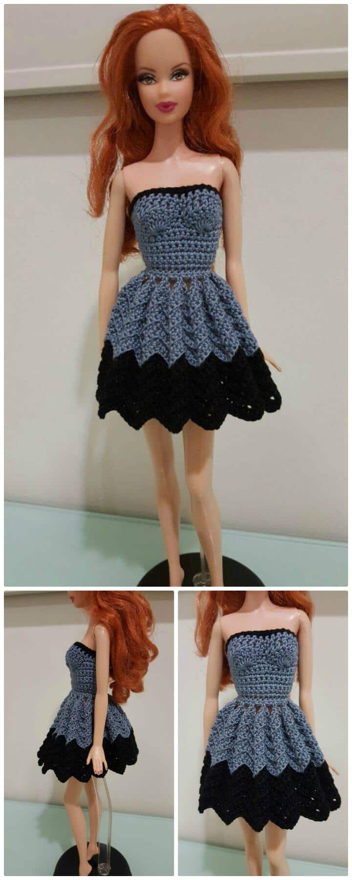 Patrón de vestido de Chevron sin tirantes de Barbie de ganchillo