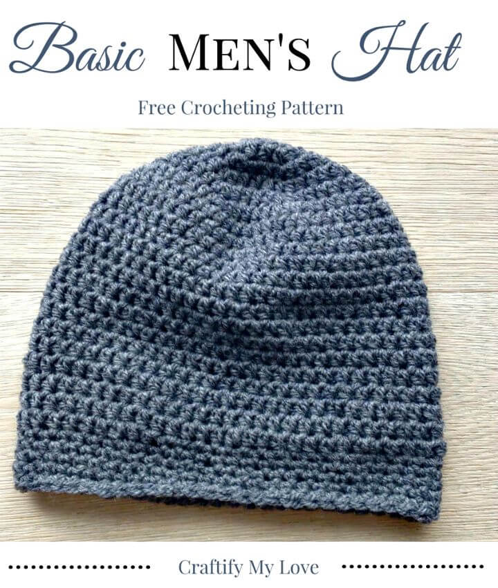 Patrón de sombrero básico de ganchillo fácil y simple para hombres
