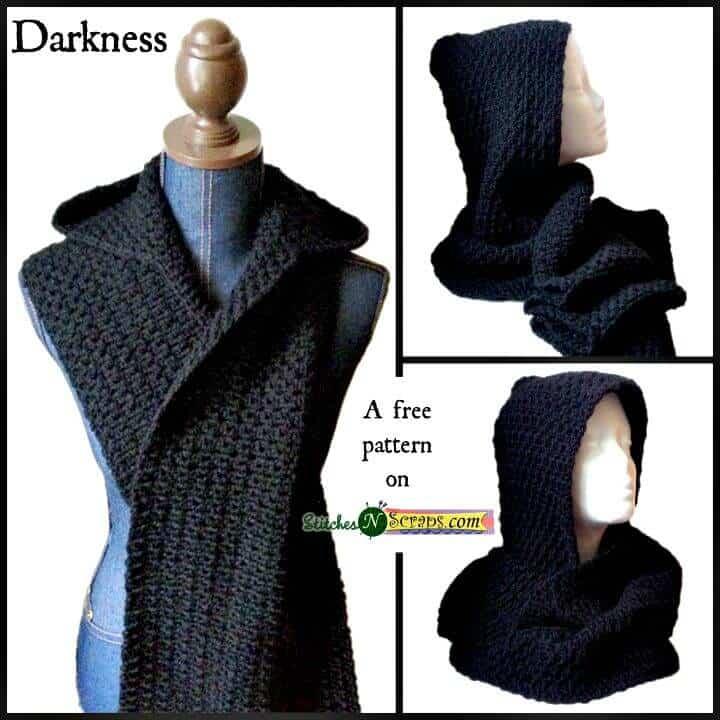 Patrón de bufanda con capucha negra de ganchillo gratis