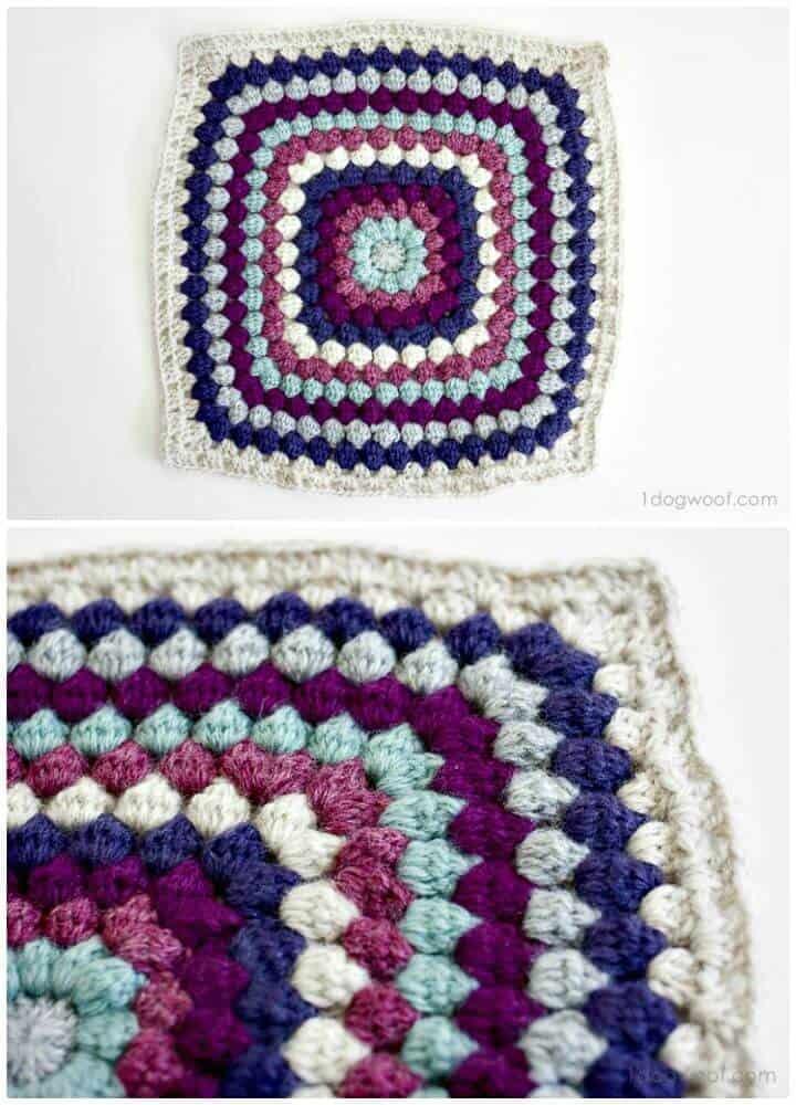 Cómo tejer un cuadrado afgano en punto bobble a ganchillo - Patrón gratuito