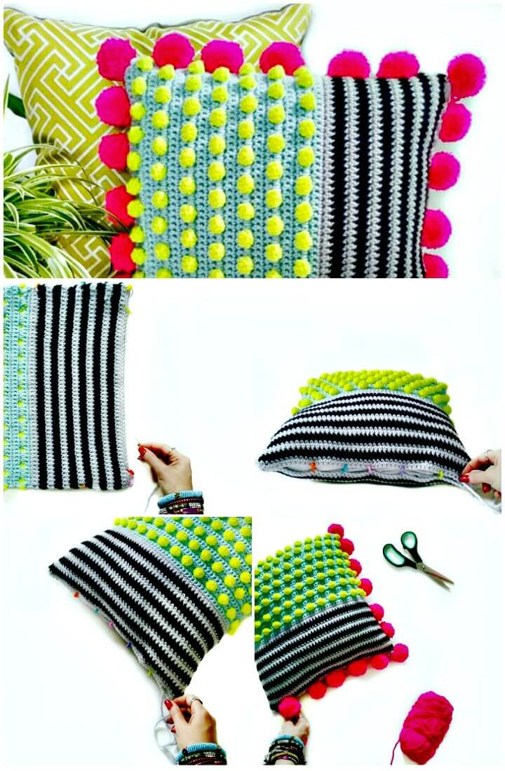 Cómo tejer un cojín de punto bobble en crochet - Patrón gratuito