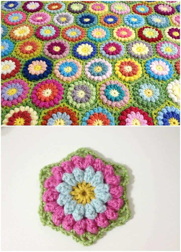 Patrón afgano hexagonal de flores bobbly de ganchillo fácil y gratis
