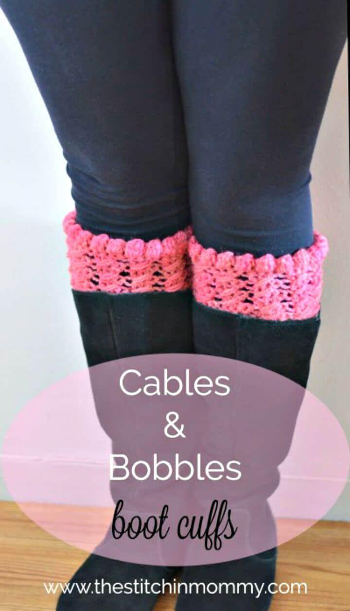 Fácil crochet cables y puños de bota bobbles - patrón gratuito