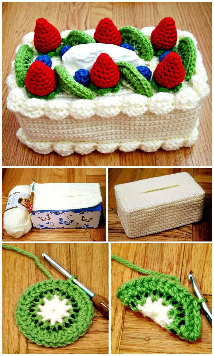 Hermoso patrón acogedor de caja de pañuelos de pastel de ganchillo gratis