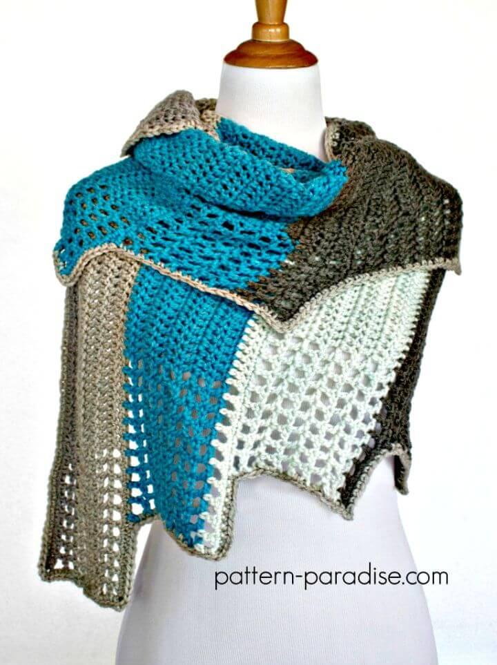 Patrón de envoltura Blue Ridge fácil de crochet Caron Cakes