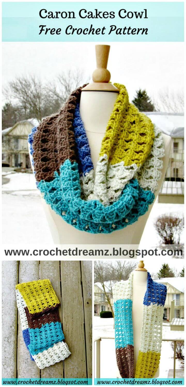 Patrón de bufanda infinito gratis de Crochet Caron Cakes