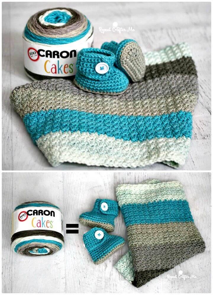 Cómo tejer a crochet botines y manta para bebé con botón de hilo Caron Cakes - patrón gratuito
