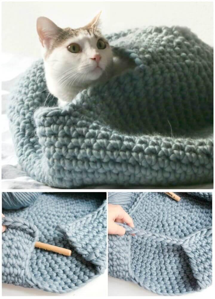 Patrón de casa de gato de ganchillo gratis fácil