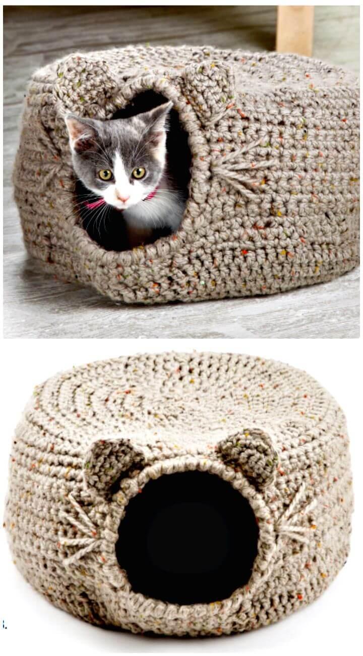 Cómo liberar el patrón de cama de iglú de gato de ganchillo