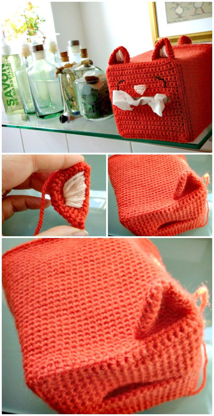 Patrón de cubierta de caja de pañuelos de gato de ganchillo fácil y gratis