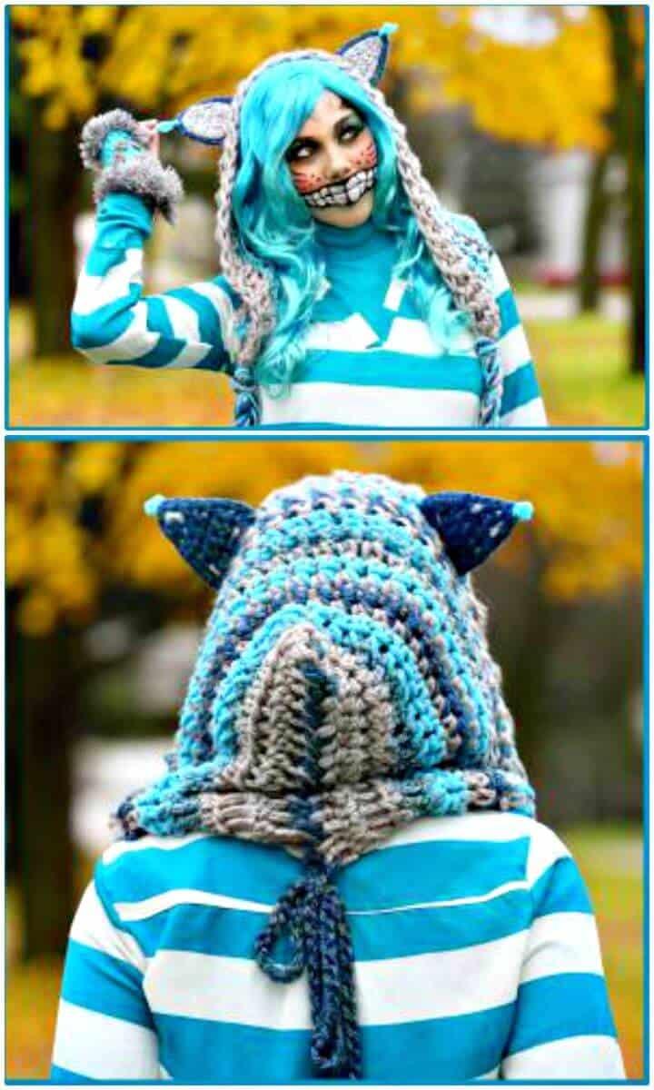 Patrón de bufanda con capucha de gato de Cheshire de ganchillo gratis