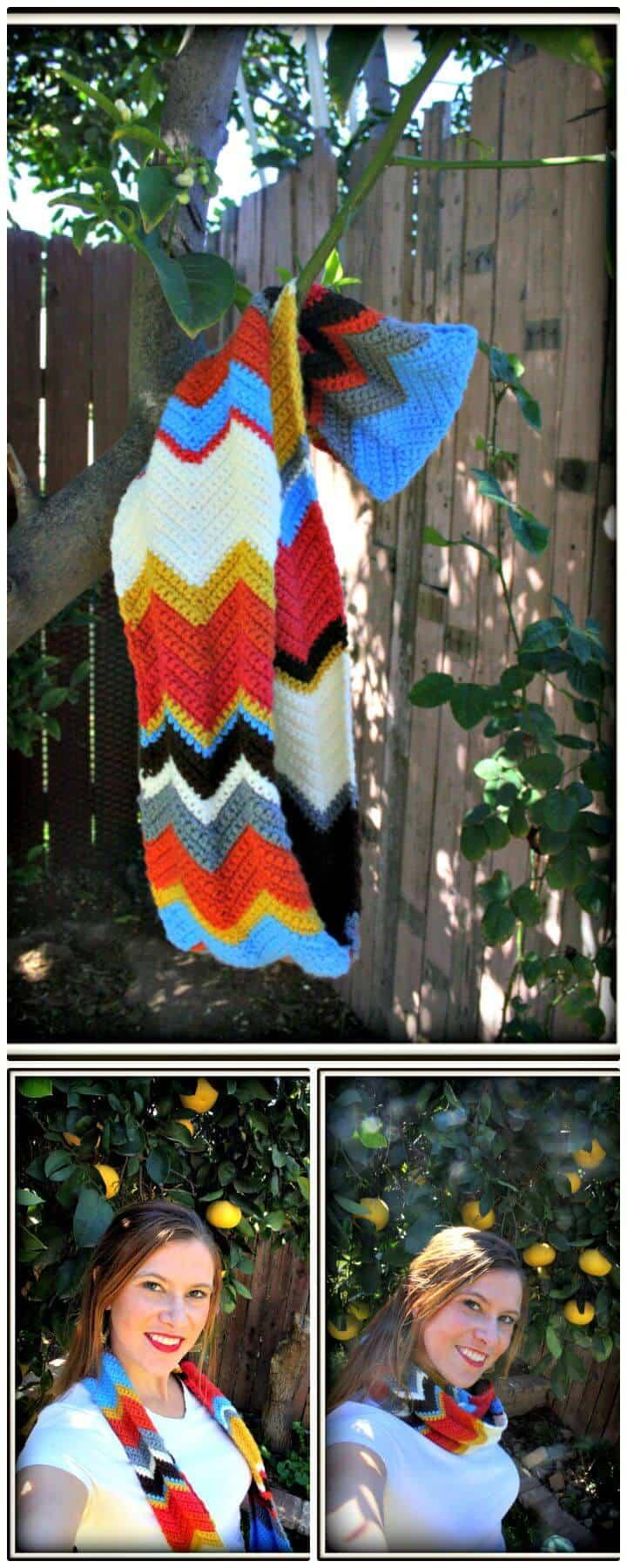 Bufanda Infinity Chevron Crochet - Patrón Gratis