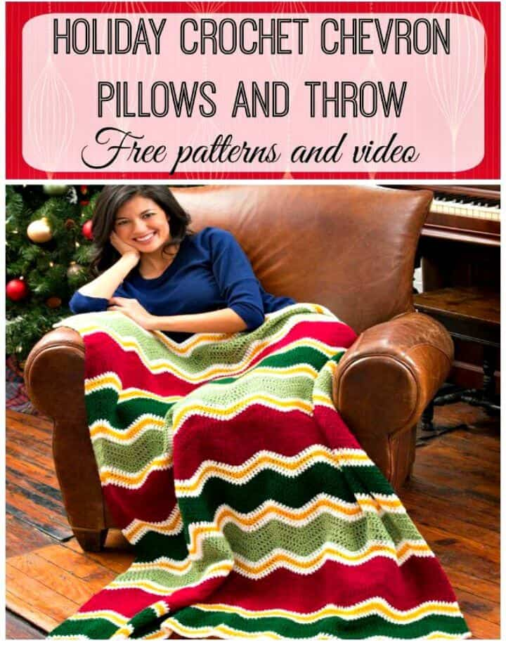 Almohadas de chevron de ganchillo gratis - Patrón de conjunto de manta