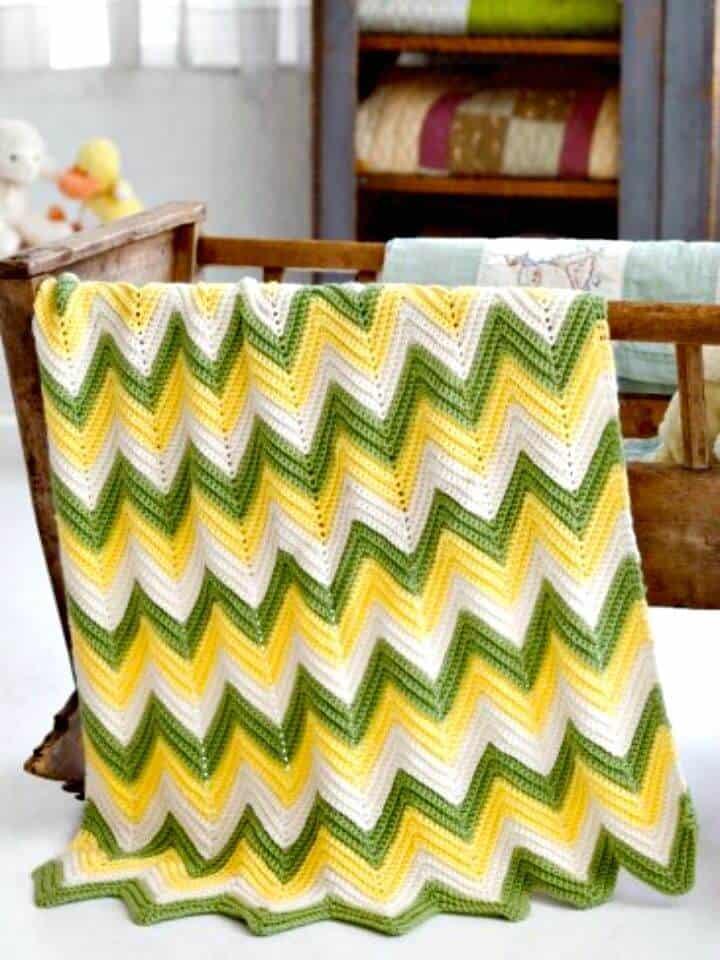 Cómo liberar el patrón de manta de bebé en zigzag de chevrón de ganchillo