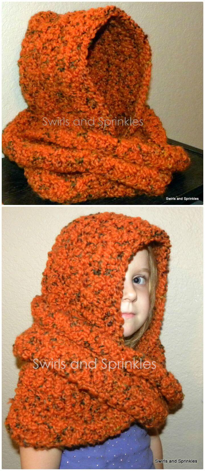 Patrón de bufanda infinito con capucha gruesa de ganchillo fácil y gratis