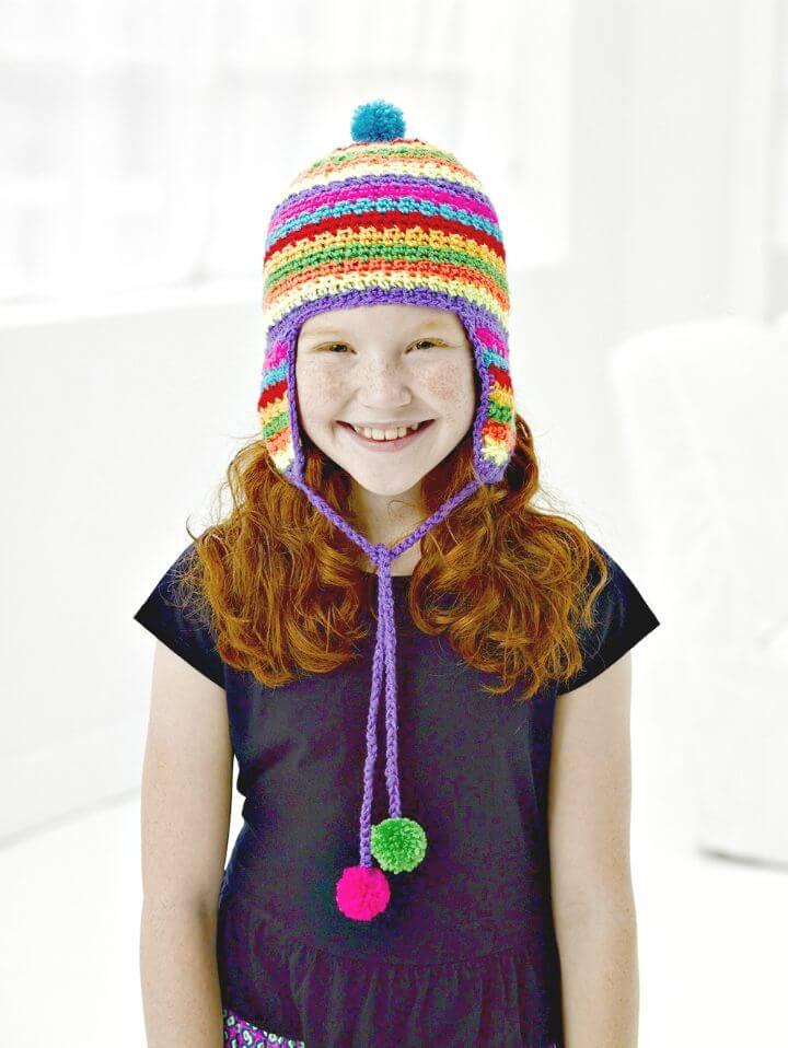 Patrón de sombrero con orejeras de colores de ganchillo fácil y gratis