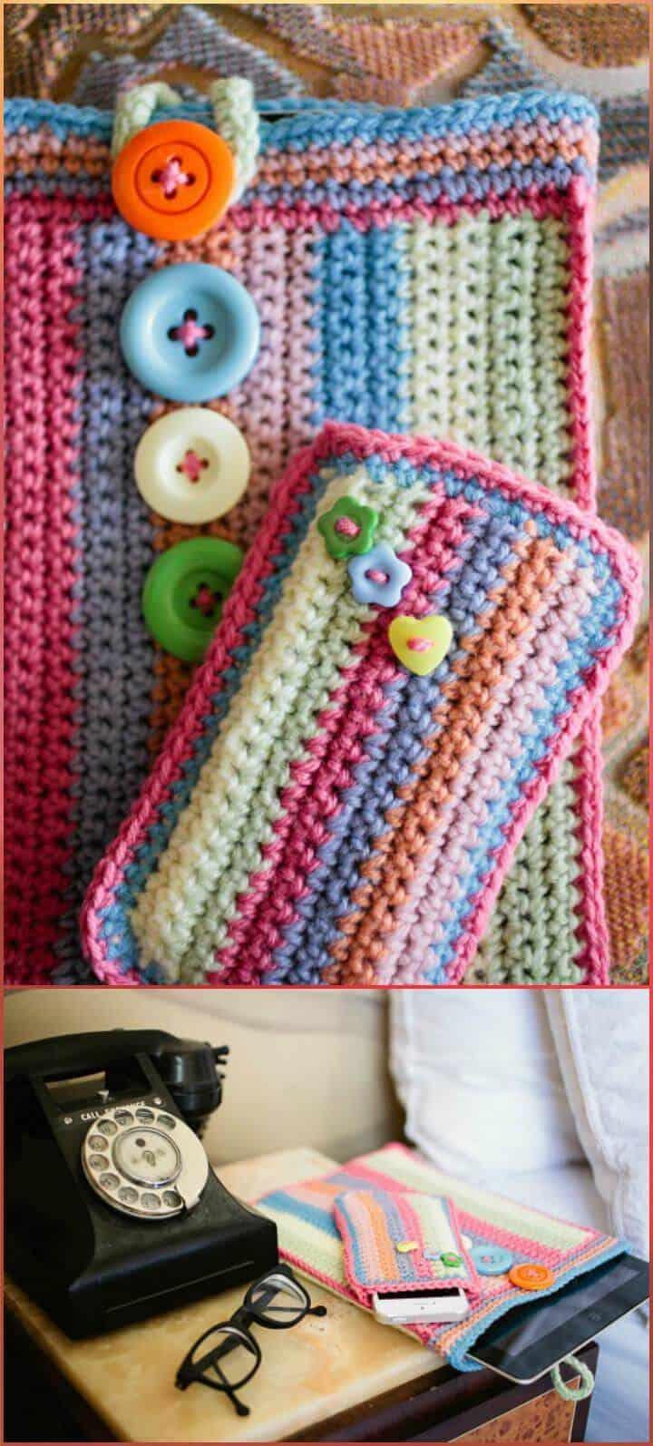 Patrón de caja de teléfono colorido de ganchillo fácil y gratuito
