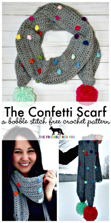 Bufanda de confeti de ganchillo gratis con patrón de punto Bobble