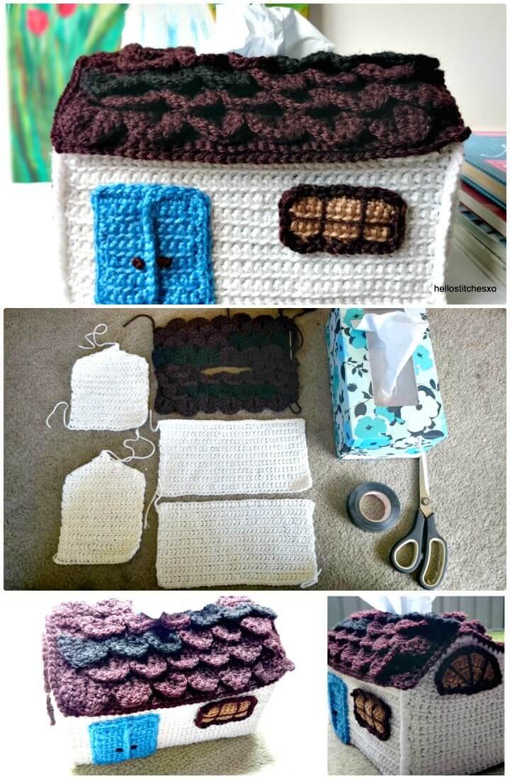 Patrón de cubierta de caja de pañuelos de casa de campo de ganchillo gratis fácil