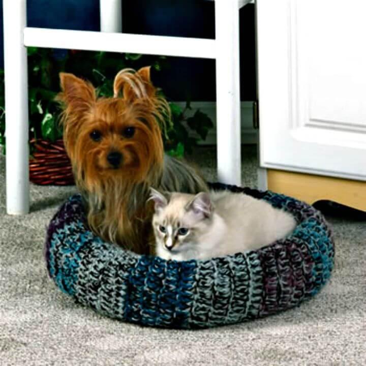 Patrón de cama de gato acogedor de ganchillo gratis