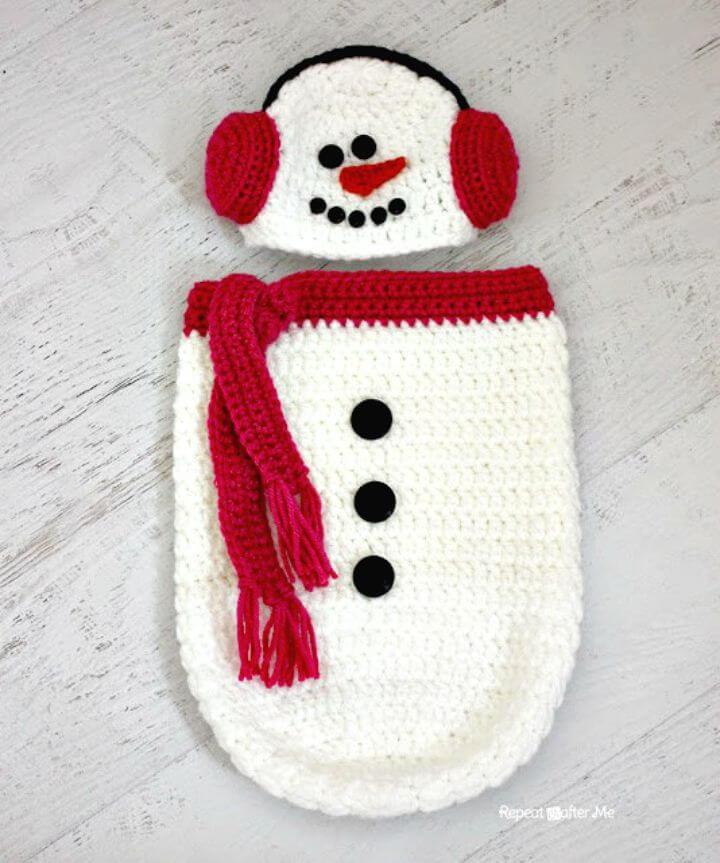 Patrón de gorro y capullo de muñeco de nieve de ganchillo gratis