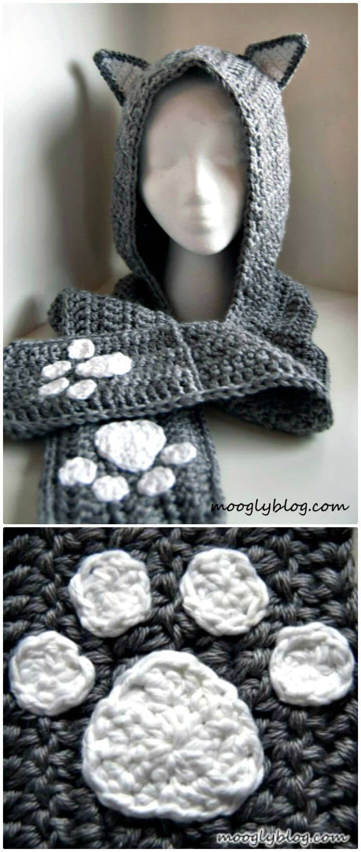 Scoodie de felpa de gato de ganchillo fácil y gratis con bolsillos - Patrón de bufanda con capucha