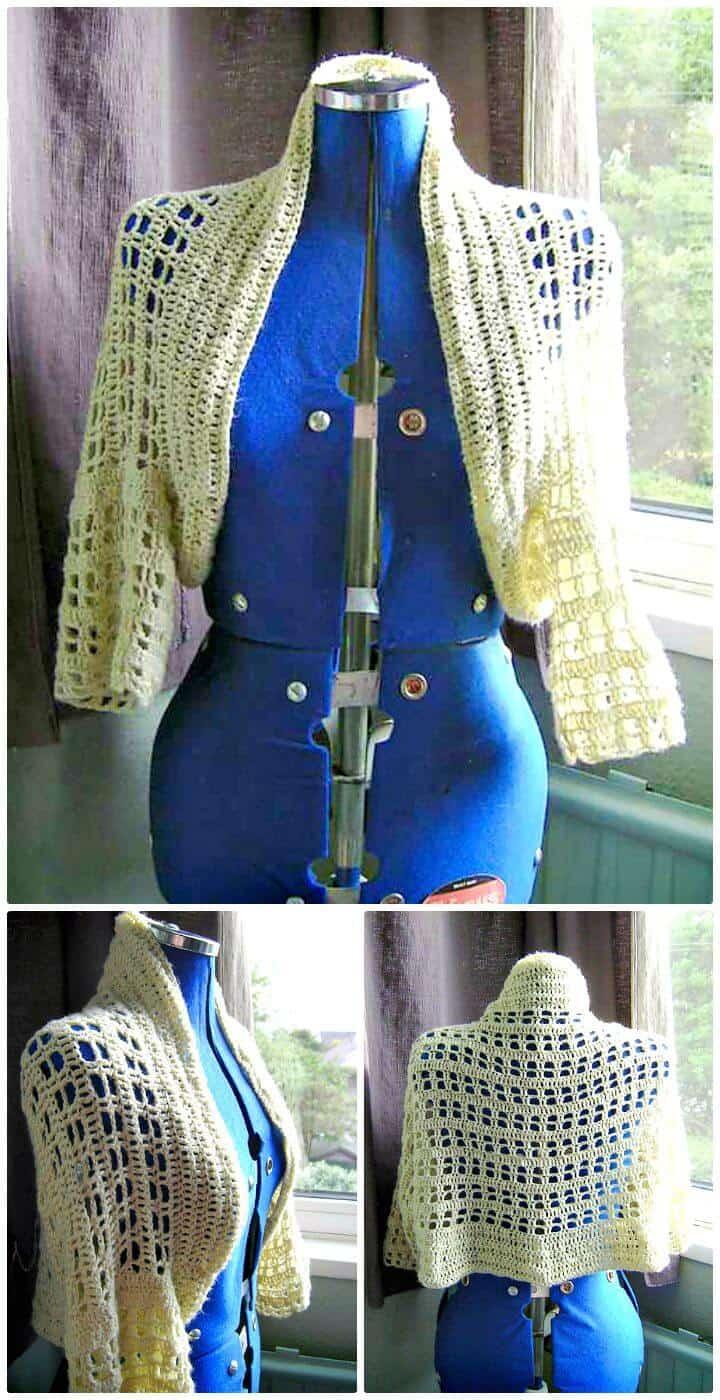Patrón de encogimiento de hombros de natillas de ganchillo fácil y gratuito