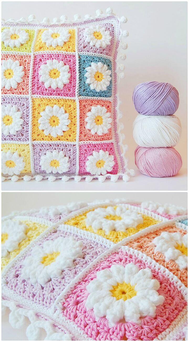 Patrón de almohada cuadrada de abuelita Daisy de ganchillo fácil y gratis