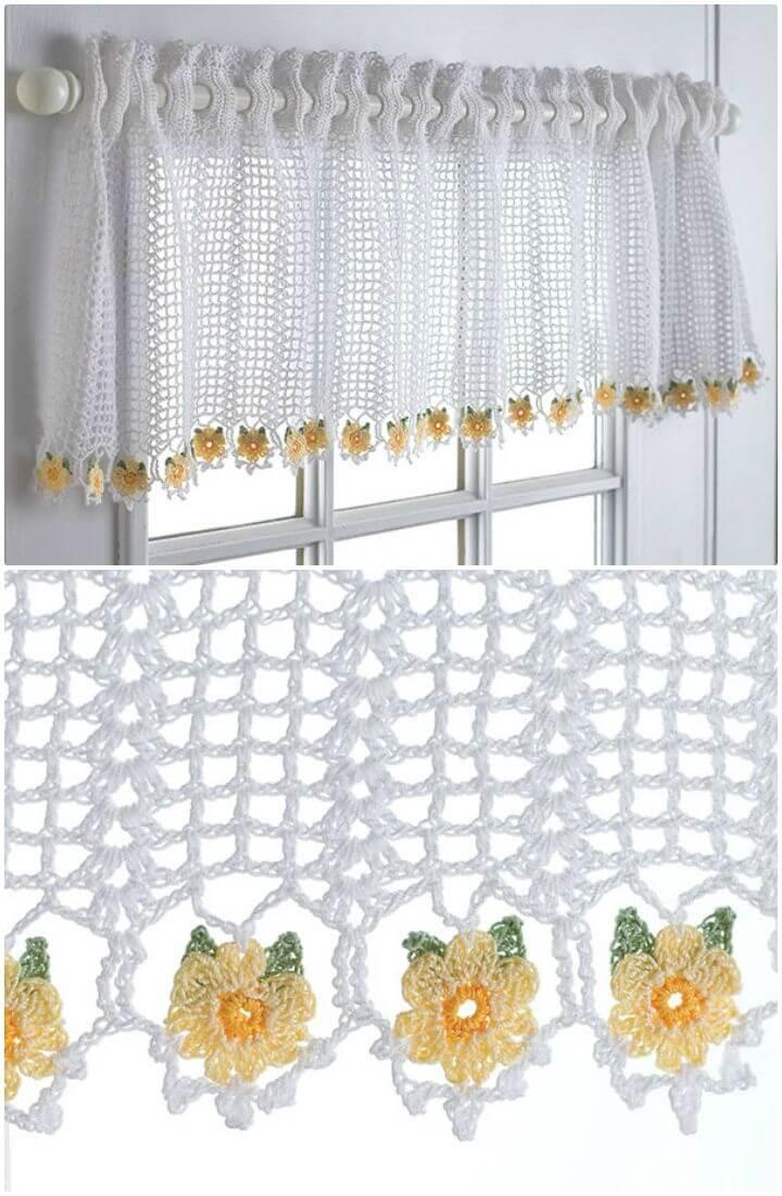 Cenefa de margaritas de ganchillo gratis - Patrones de cortina