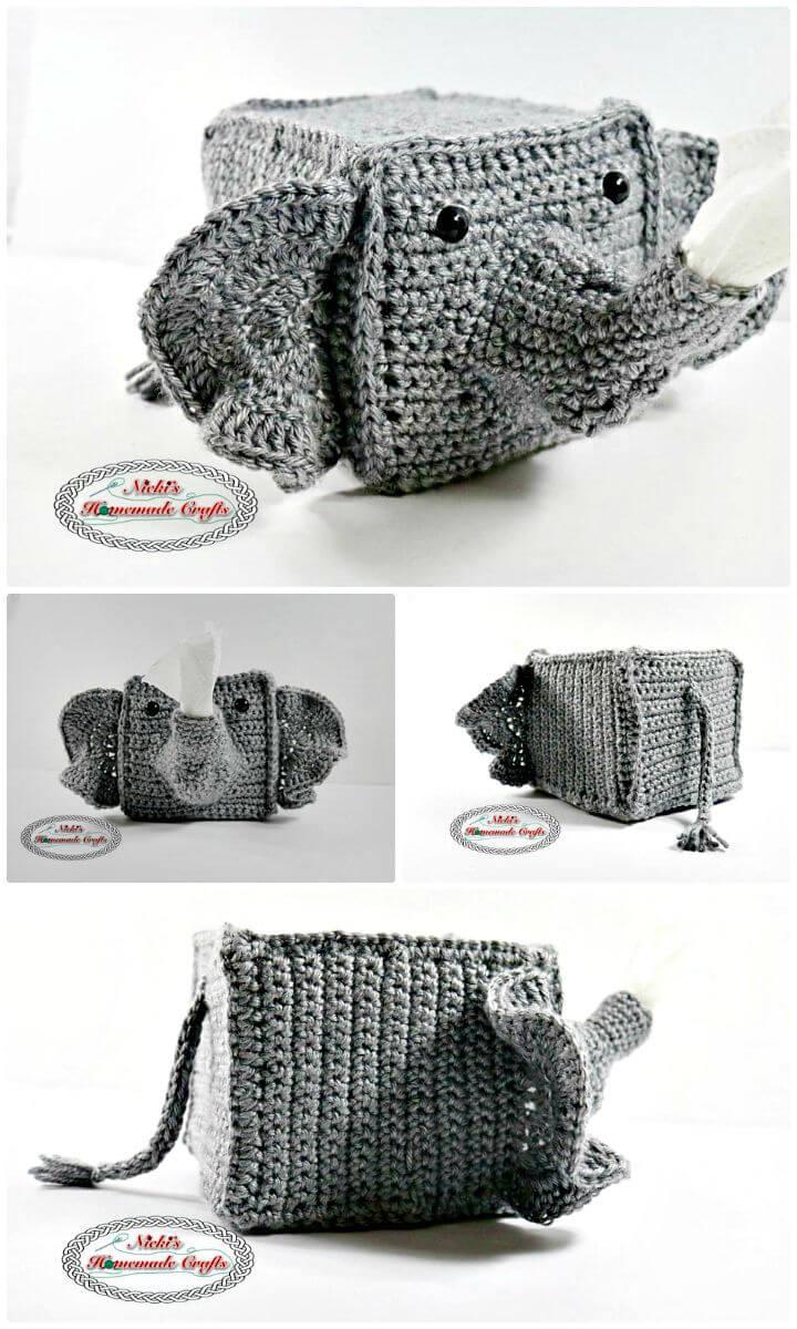 Cómo liberar el patrón de cubierta de caja de pañuelos de elefante de ganchillo