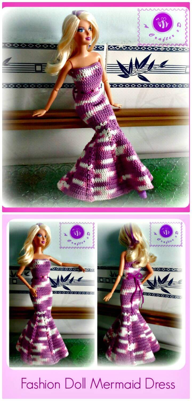 Patrón de vestido de sirena de muñeca de moda de ganchillo gratis fácil
