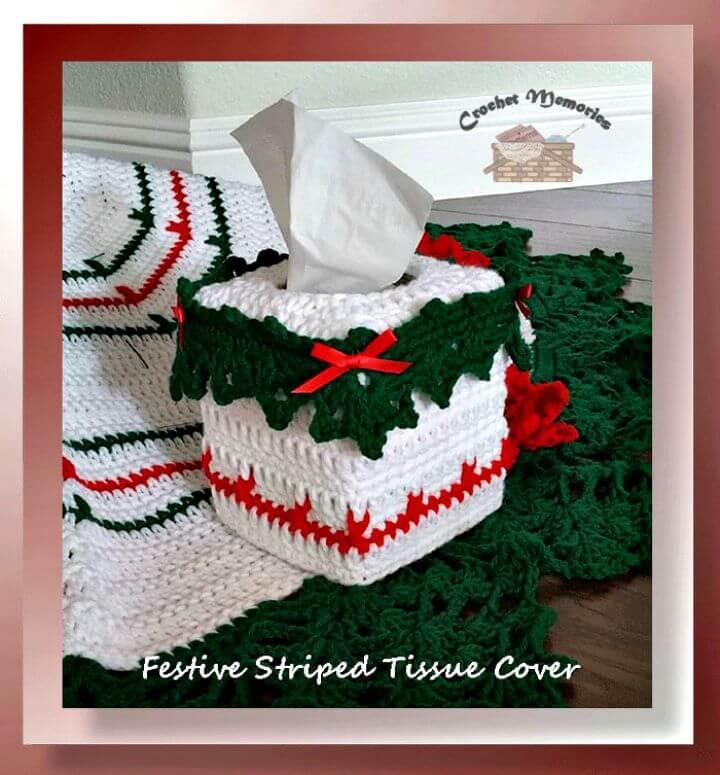 Patrón de cubierta de tejido a rayas festivo de ganchillo fácil y gratuito