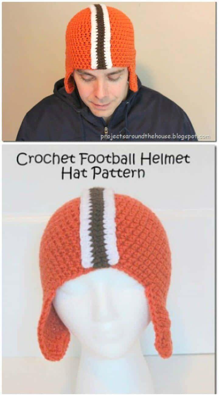Sombrero de casco de fútbol de ganchillo para hombre