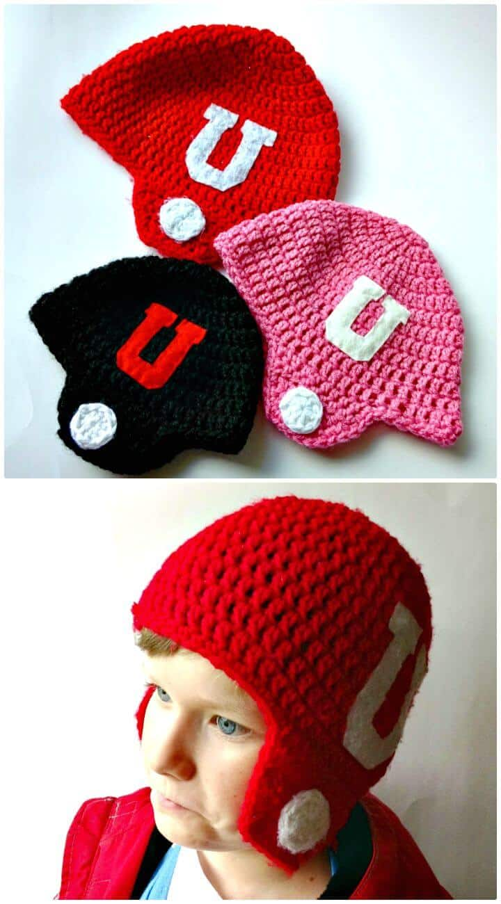 Patrón de sombreros de casco de fútbol americano de ganchillo gratis fácil