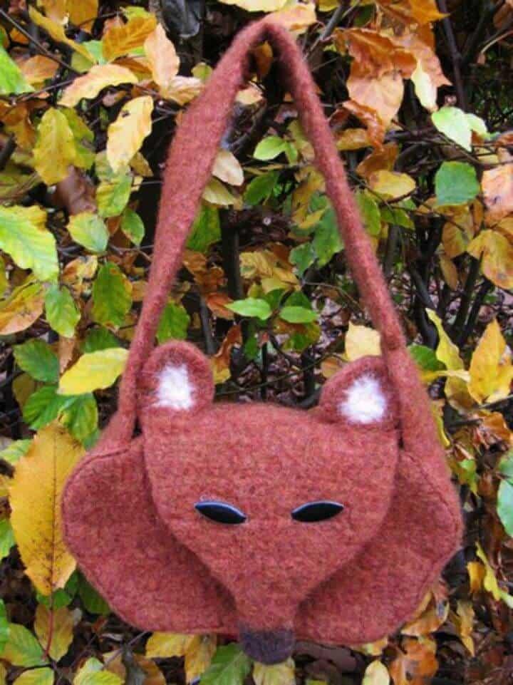 Bolso Fox Fieltro Crochet - Patrón Libre