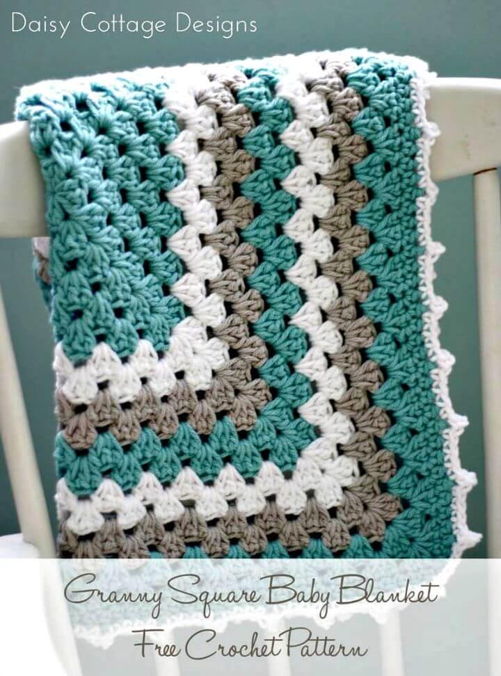 Patrón de manta de bebé cuadrado de abuela de ganchillo fácil fácil