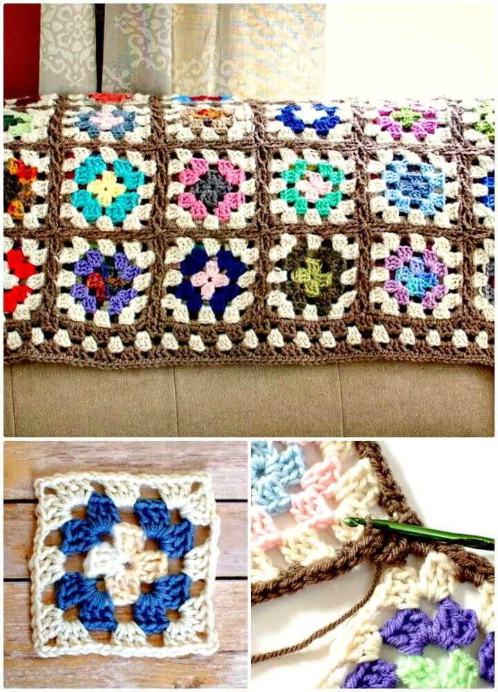 Cómo liberar el patrón afgano de la manta cuadrada de la abuela de ganchillo