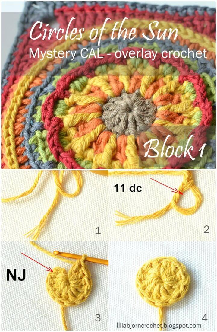 Cómo hacer un patrón de círculos cuadrados del sol en crochet gratis