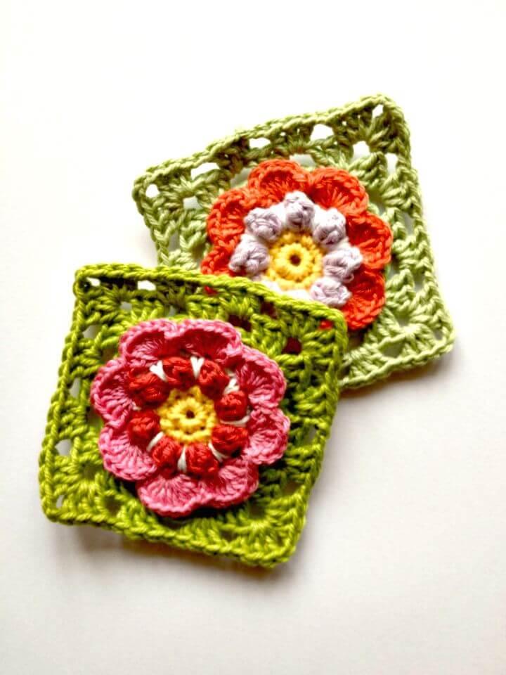 Patrón de flor de abuelita de ganchillo fácil y gratis