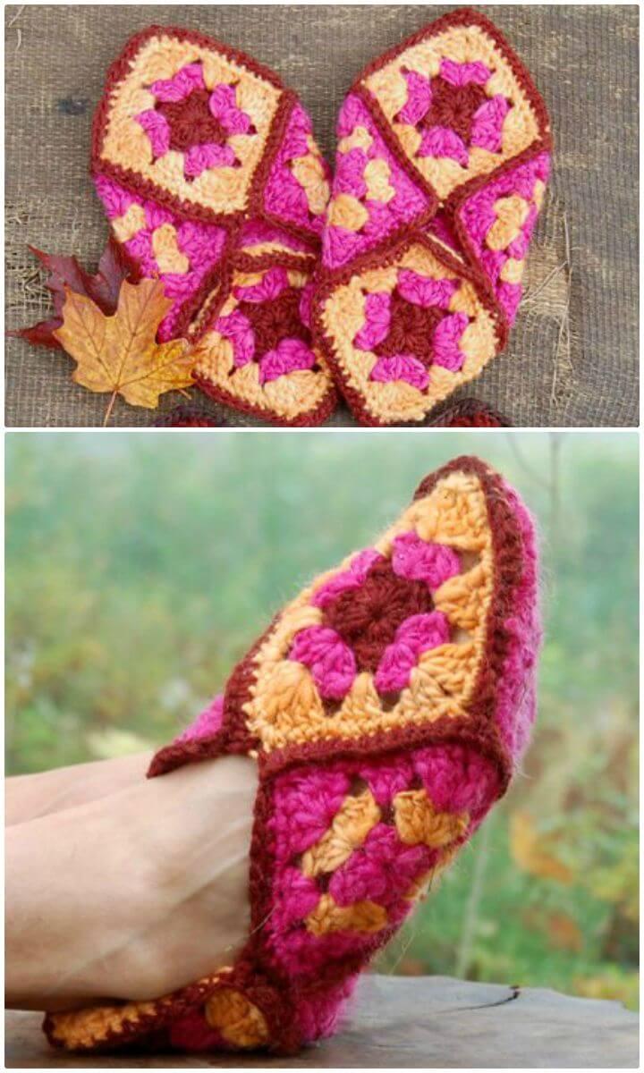 Patrón de zapatos cuadrados de abuelita de ganchillo fácil y gratis