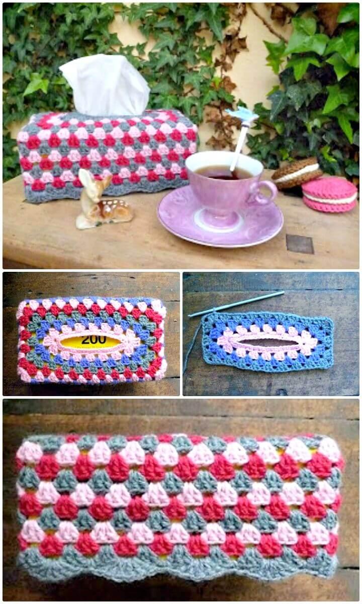 Patrón de caja de pañuelos de abuelita de ganchillo fácil y gratis