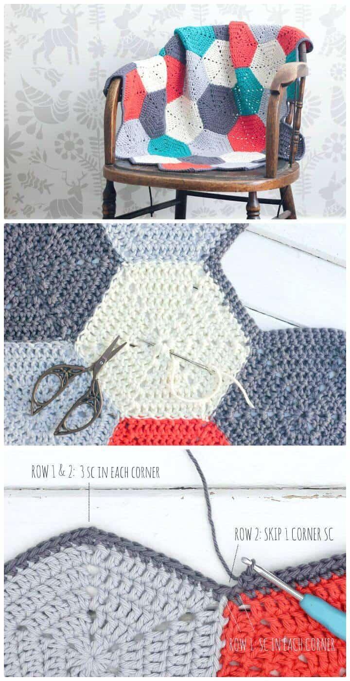 Cómo hacer un patrón afgano de Happy Hexagons a crochet gratis