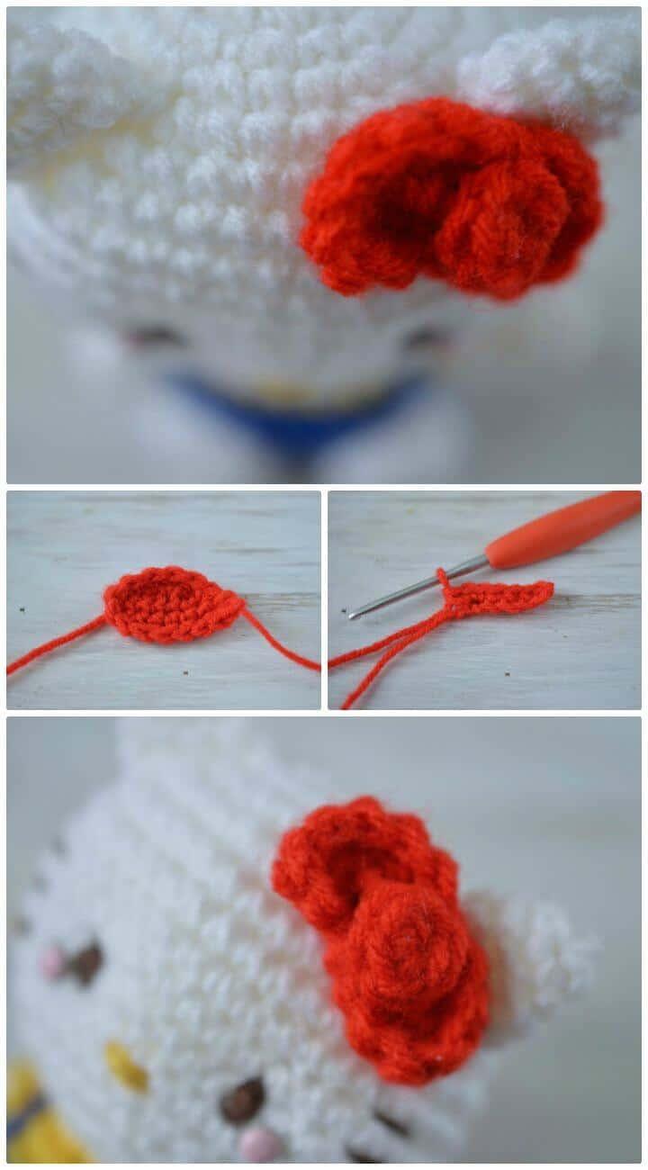 Tutorial + Patrón de Lazo Hello Kitty a Crochet Gratis