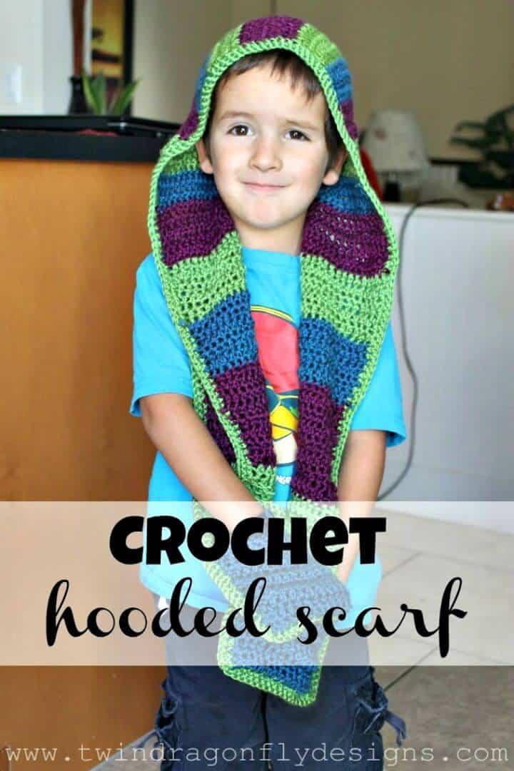 Patrón de bufanda con capucha de ganchillo fácil y gratuito - Para niños