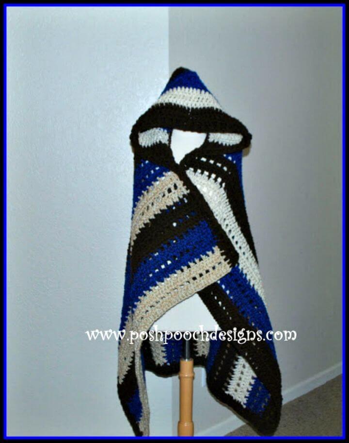 Patrón de manta cruzada con capucha de ganchillo fácil y gratis