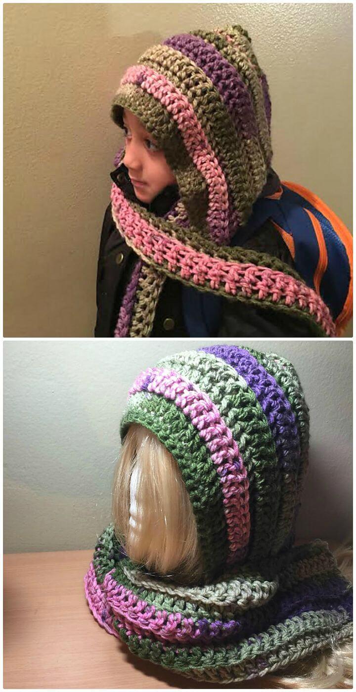 Patrón de bufanda con capucha fácil de ganchillo Keep Me Warm