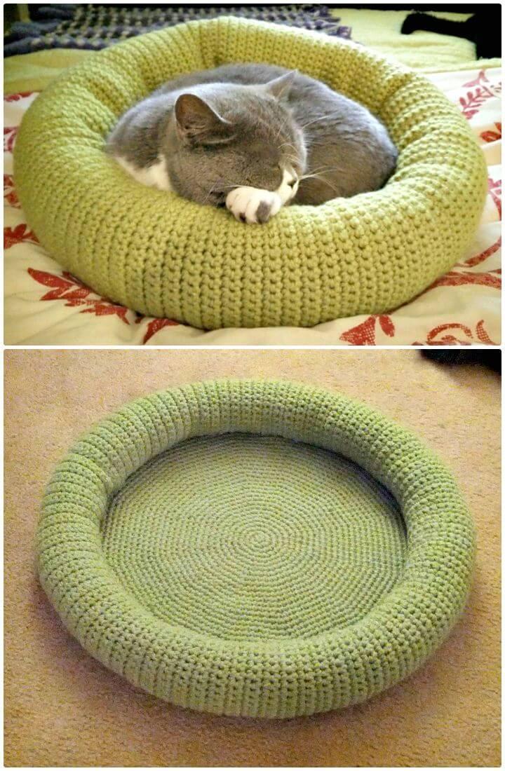 Cómo hacer un patrón de cama de gatito de ganchillo gratis