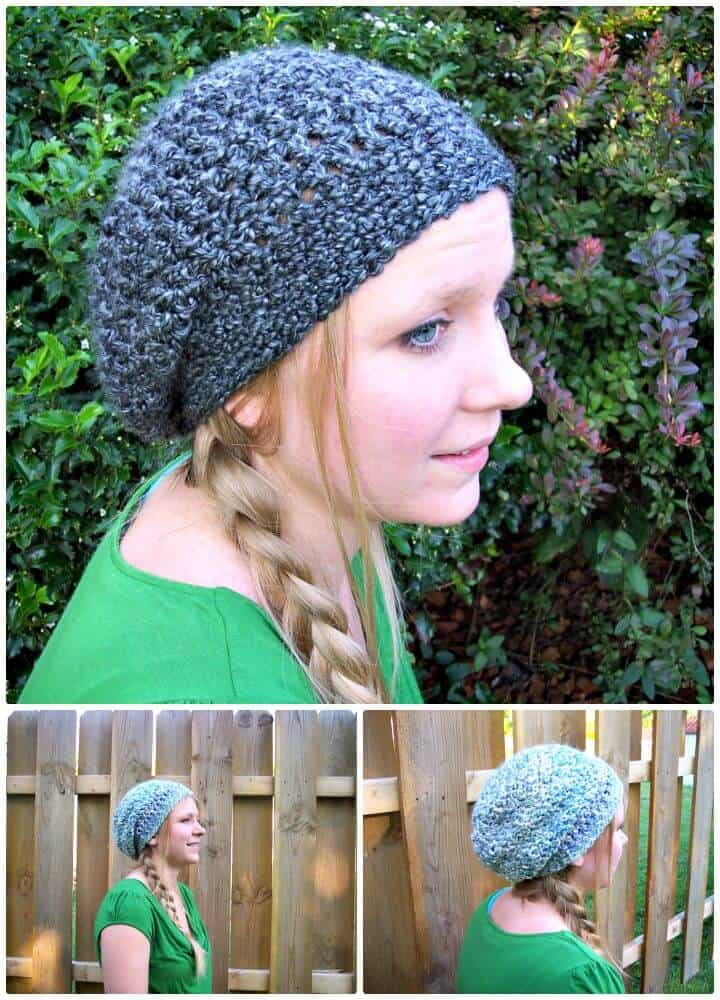 Patrón de sombrero holgado de dama encantadora de ganchillo gratis