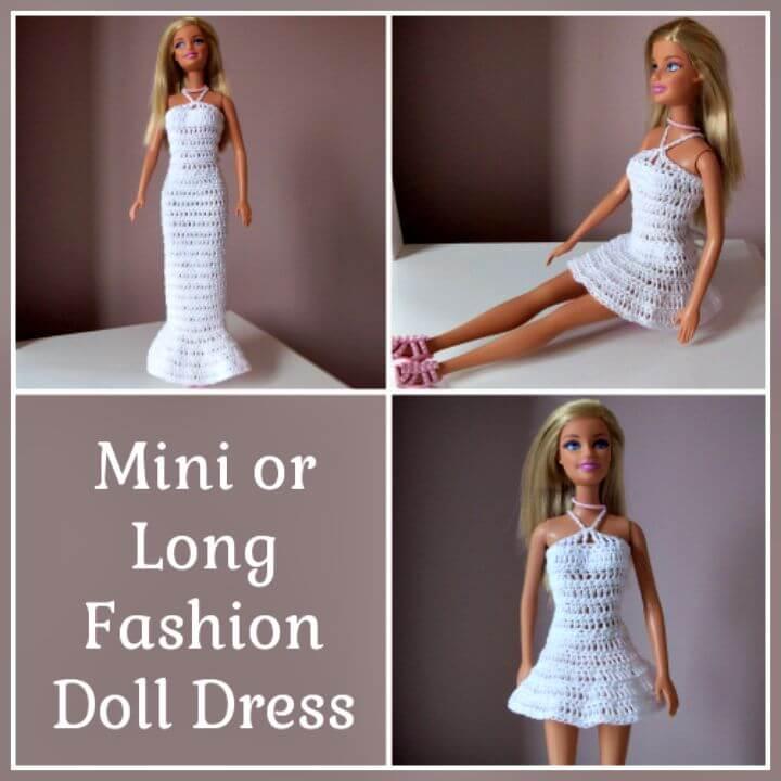 Patrón de vestido de muñeca de moda de ganchillo fácil y gratis Mini o largo de ganchillo