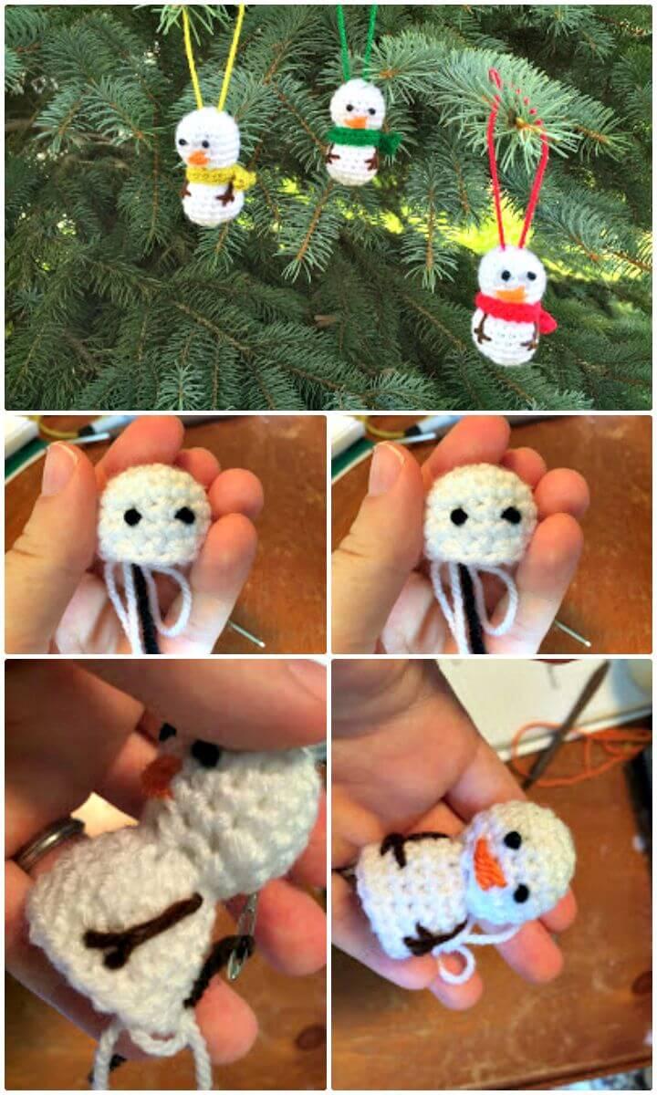Patrón de adorno de muñeco de nieve de ganchillo gratis